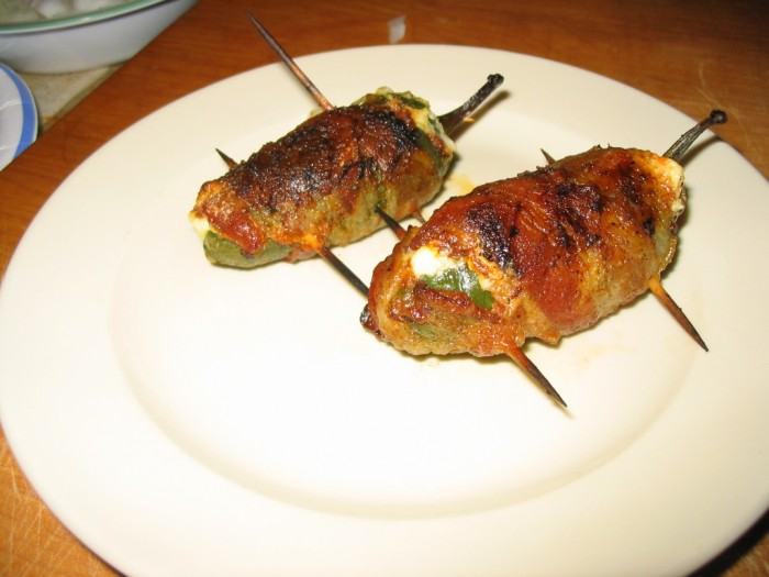 Chorizo Stuffed Bacon Wrapped Grilled Jalapenos