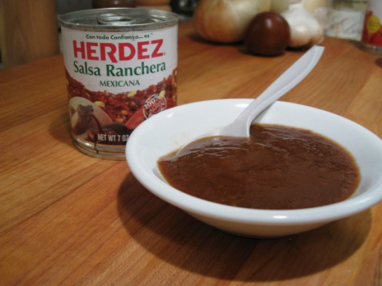 Ingredients: Salsa Ranchera: tomatoe puree, jalapeno peppers, vinegar ...