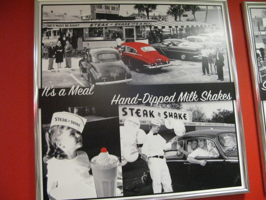 Steak n Shake old photos on wall