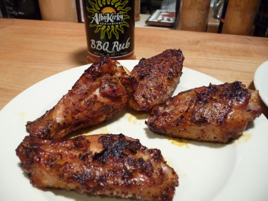 Grilled dry rubbed wings with AlbuKirky BBQ Rub