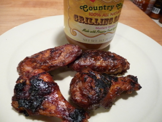 Smoke Grilled Mustard BBQ Wings Video with Country Chef Grilling Sauce