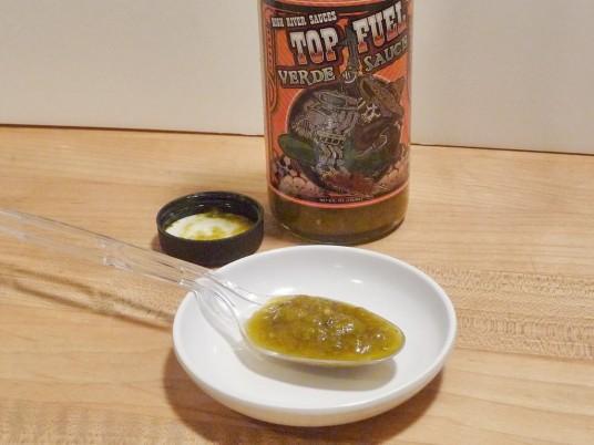 Top Fuel Verde Sauce in spoon