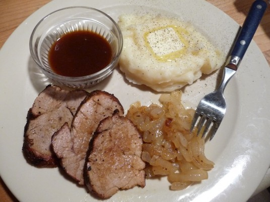 Leftovers with mashed potatoes and jerk sauce