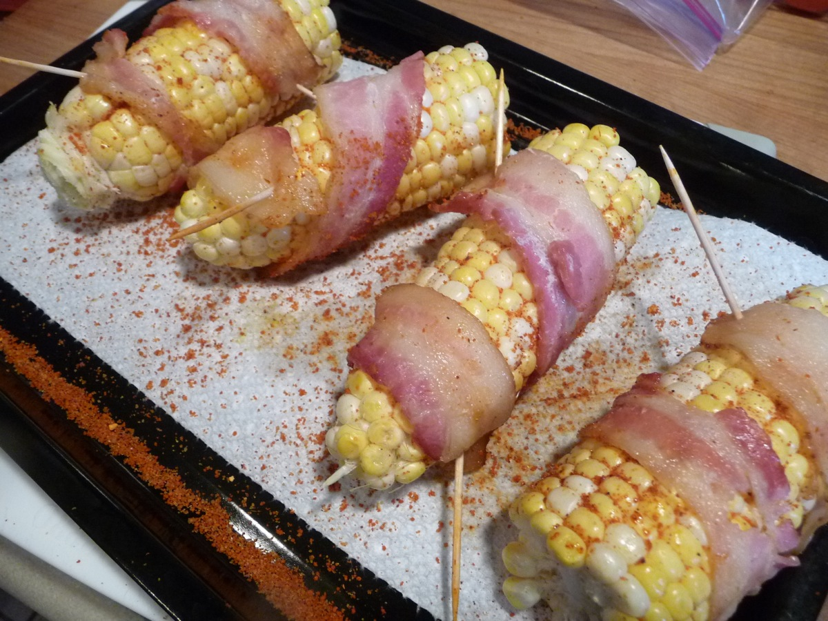 Bacon Wrapped Grilled Corn with Blue Cheese Ribeye Steak Dinner ...