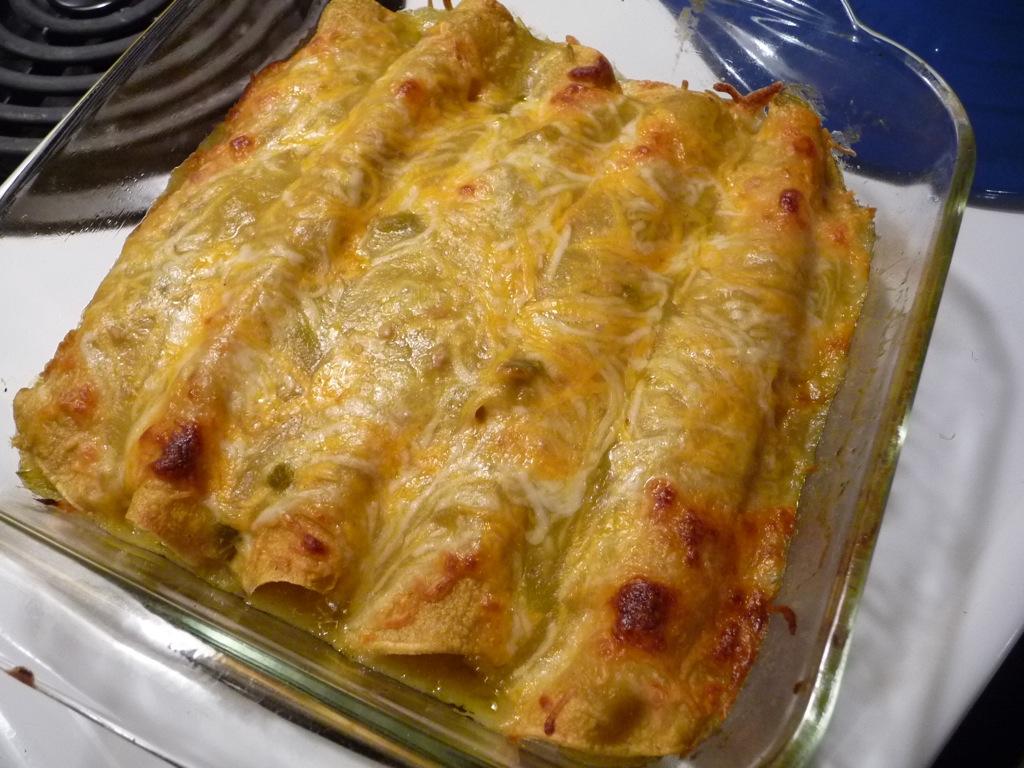 Enchiladas baked at 350 degrees for 20 minutes