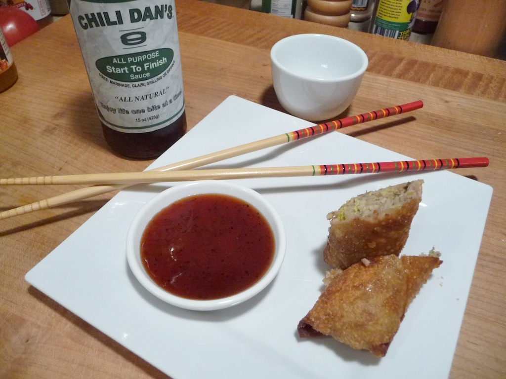 Chili Dan's All Purpose Sauce with egg rolls