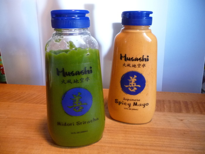 Musashi Green Sriracha and Spicy Mayo sauces