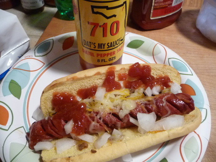 710 Datil Pepper Sauce on Mexican Hot Dogs