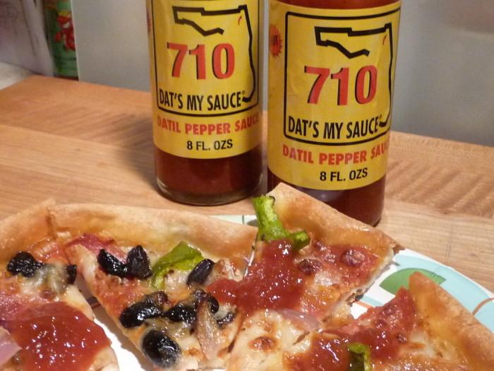 710 Datil Pepper Sauce on pizza