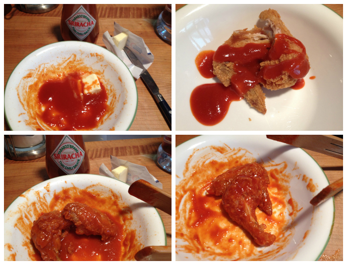 Tabasco Sriracha on Popeye's wings - HotSauceDaily.com