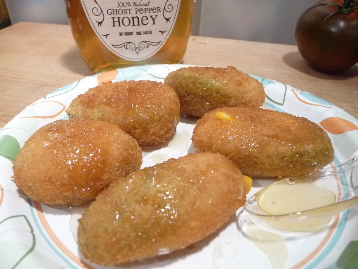 Geddes Farms Ghost Pepper Honey on poppers