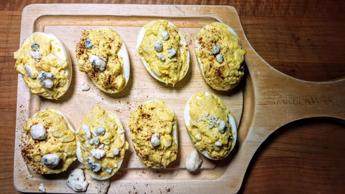 black blue crab deviled eggs platter