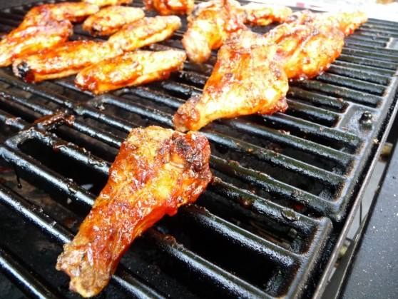 Red Brothers Fiery Habanero BBQ Wings on Grill