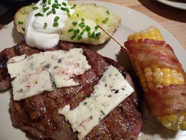 Bacon Wrapped Grilled Corn with Blue Cheese Ribeye Steak ... | 600 x 450 jpeg 303kB