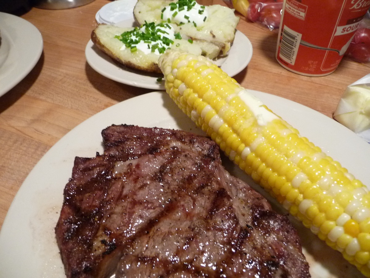 Bacon Wrapped Grilled Corn with Blue Cheese Ribeye Steak ... | 1200 x 900 jpeg 302kB
