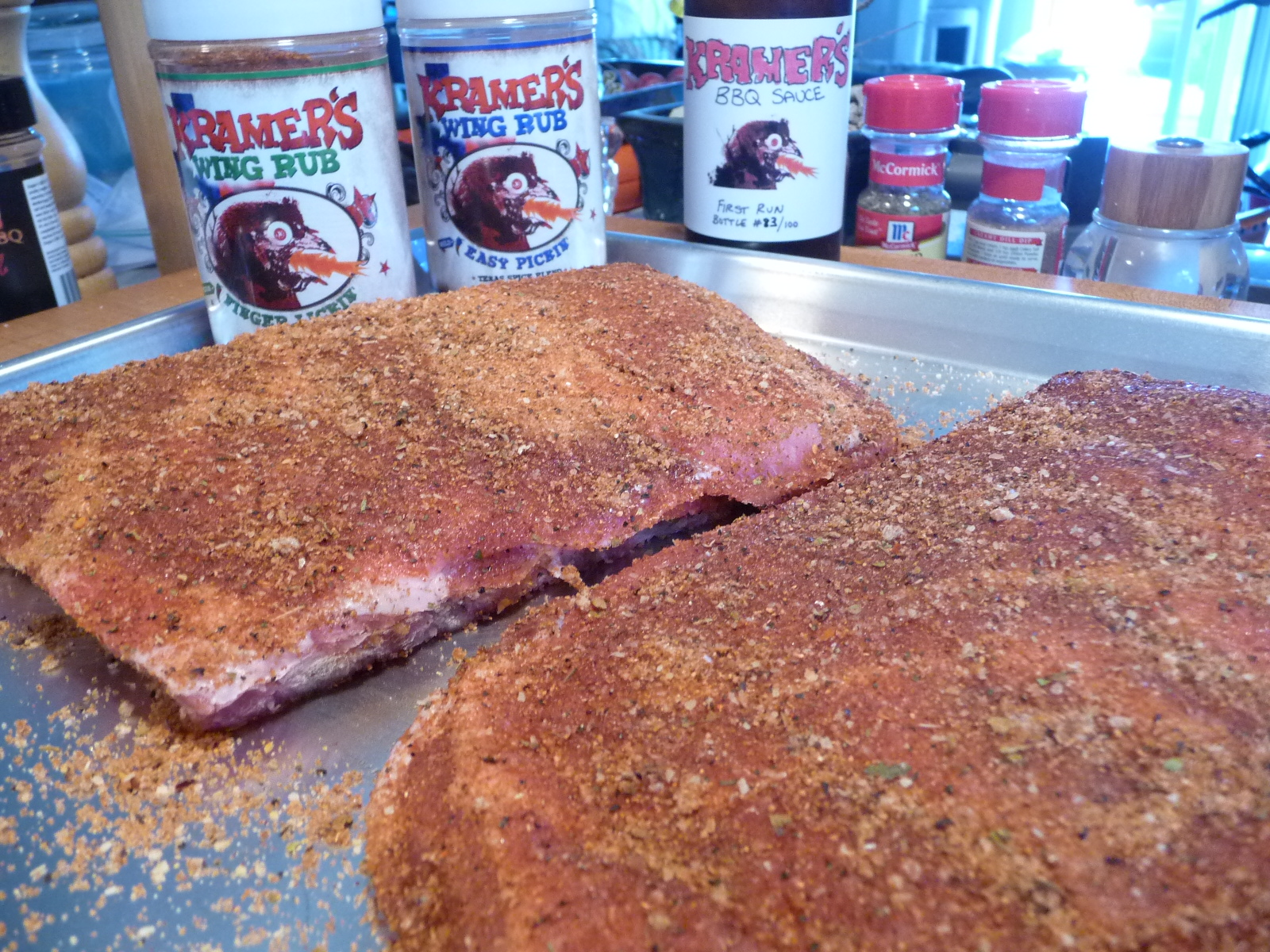 Ribs rubbed with Kramers Rubs - Finger Lickin and Easy Pickin