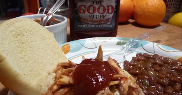 the good stuff bbq sauce on pulled pork