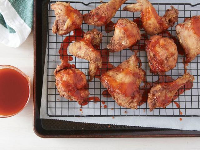 Twice fried chicken wings recipe with sriracha honey