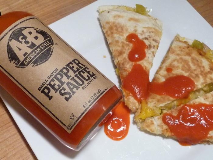 A&B Pepper sauce on quesadillas