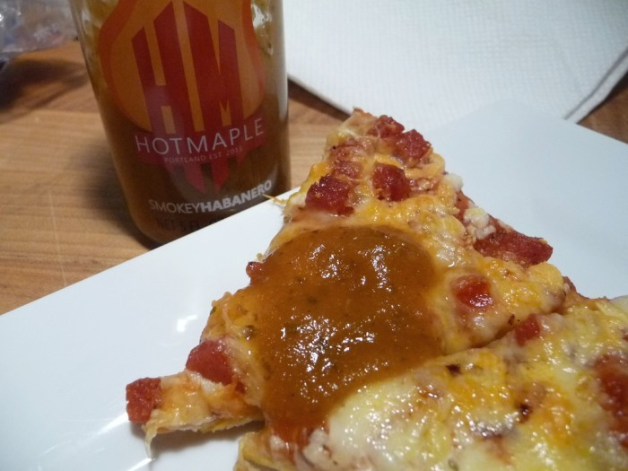hot maple smokey habanero on pizza
