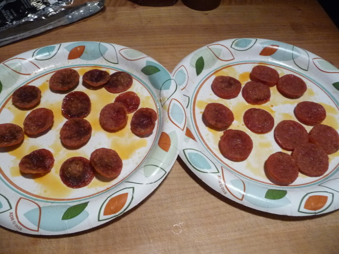 Sliced pepperoni from microwave