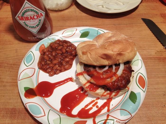 Tabasco Sriracha on onion burger - on HotSauceDaily.com