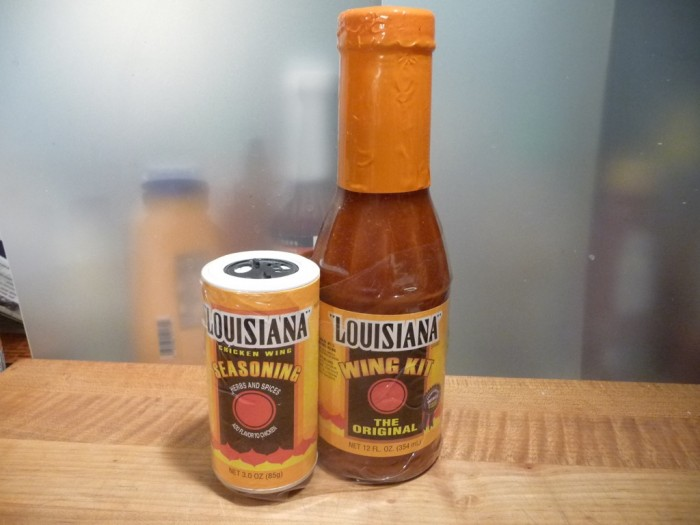 Shrink wrapped Louisiana Wing Sauce Kit and Wing Seasoning