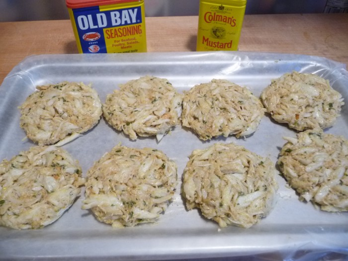 slider sized crab cake patties ready to fry
