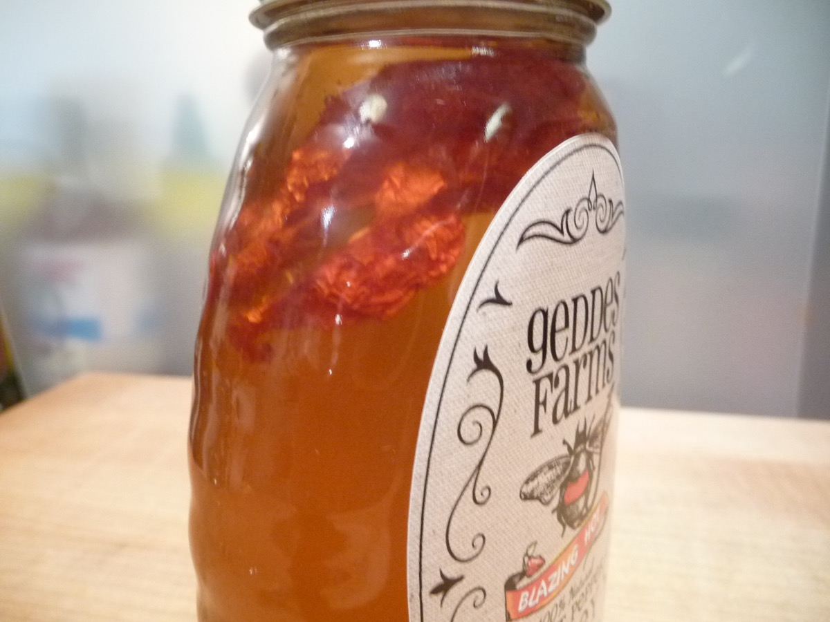 Ghost pepper in honey. Kind of creepy, huh?